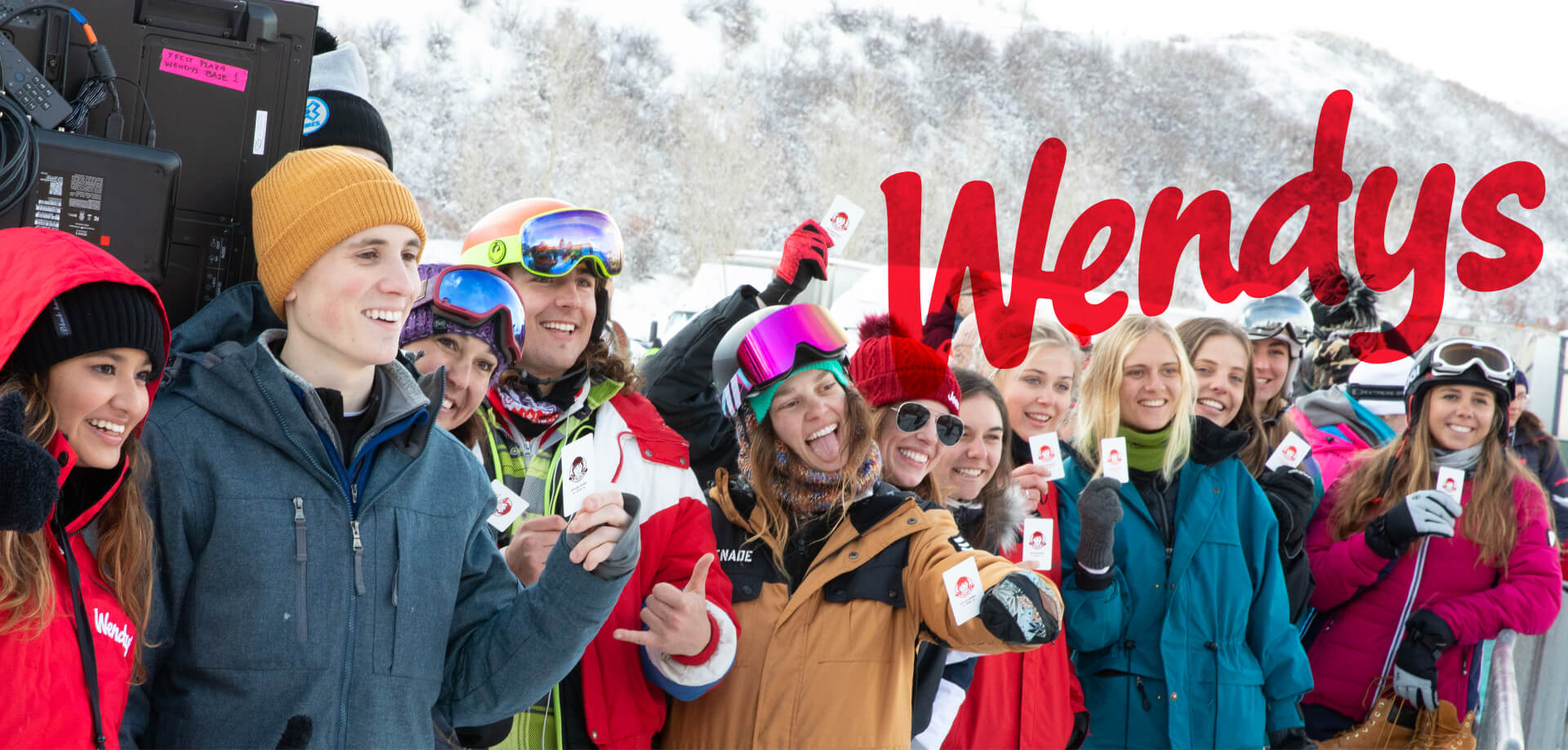 Skiers in line for the Wendy's pop-up restaurant created by our experiential marketing team.