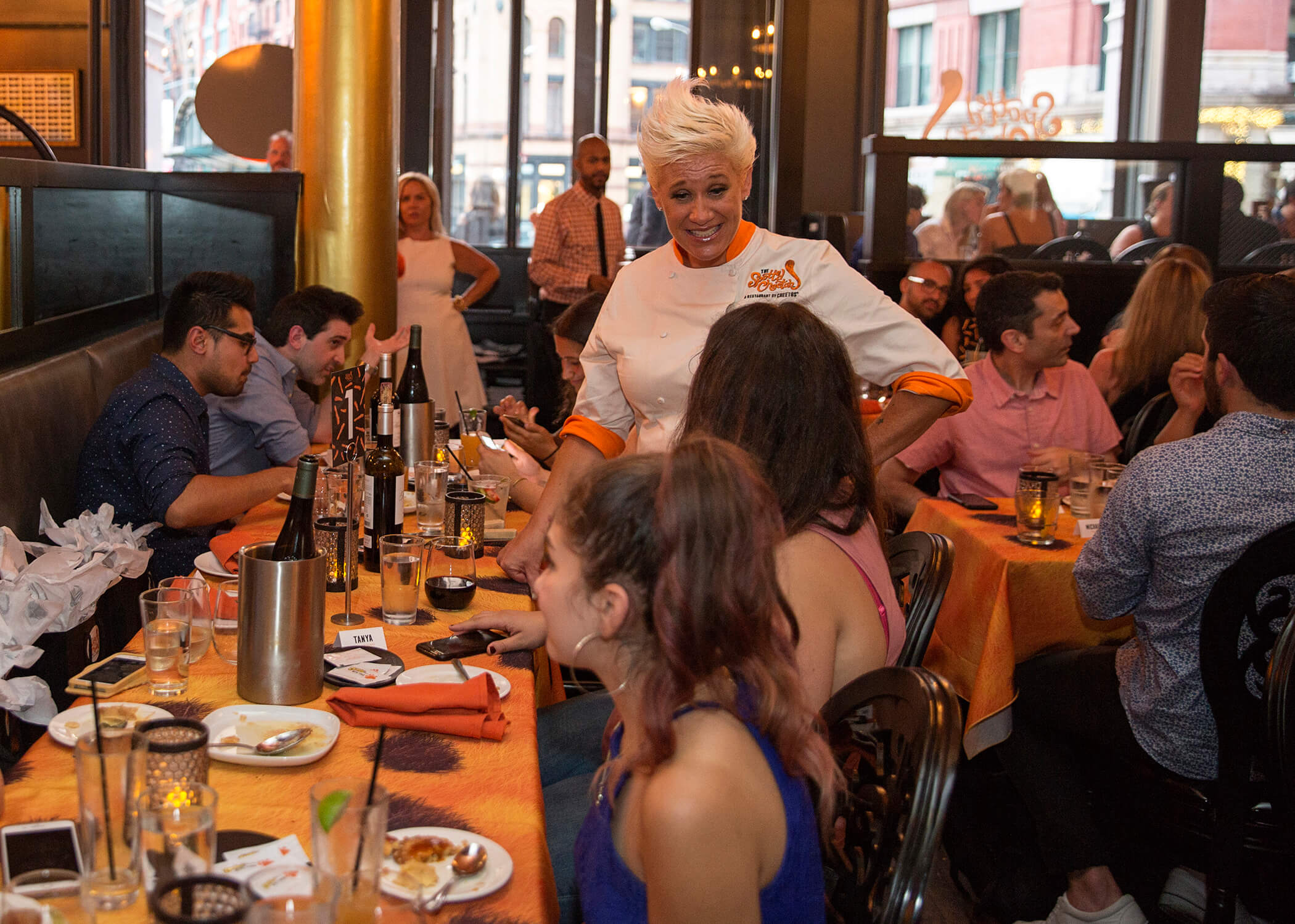 Celebrity chef Anne Burrell greeted guests at The Spotted Cheetah: A Restaurant by Cheetos.