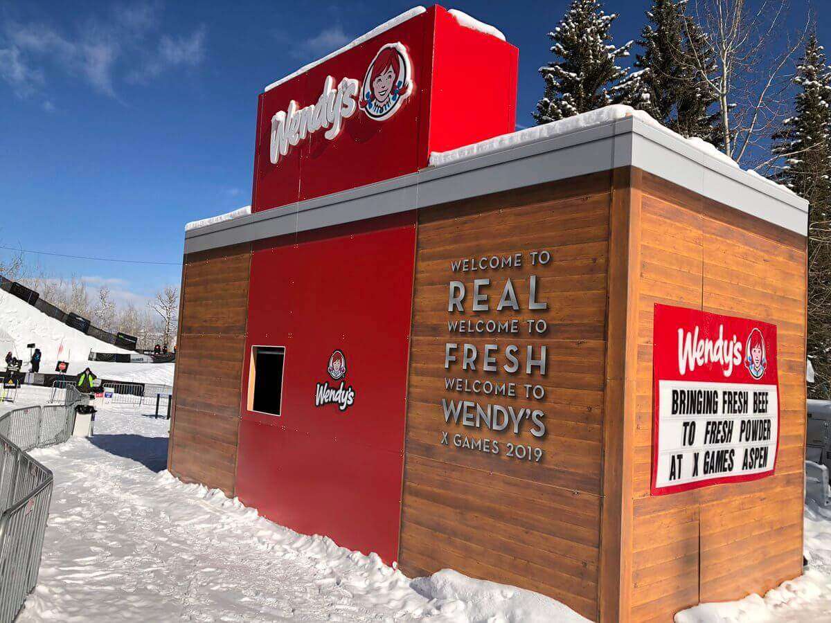 Measuring almost 168 square feet, the Ski Thru was a complete hit with Wendy's brand ambassadors serving thousands of skiers, snowboarders, and influencers right from a window just like a normal drive thru.