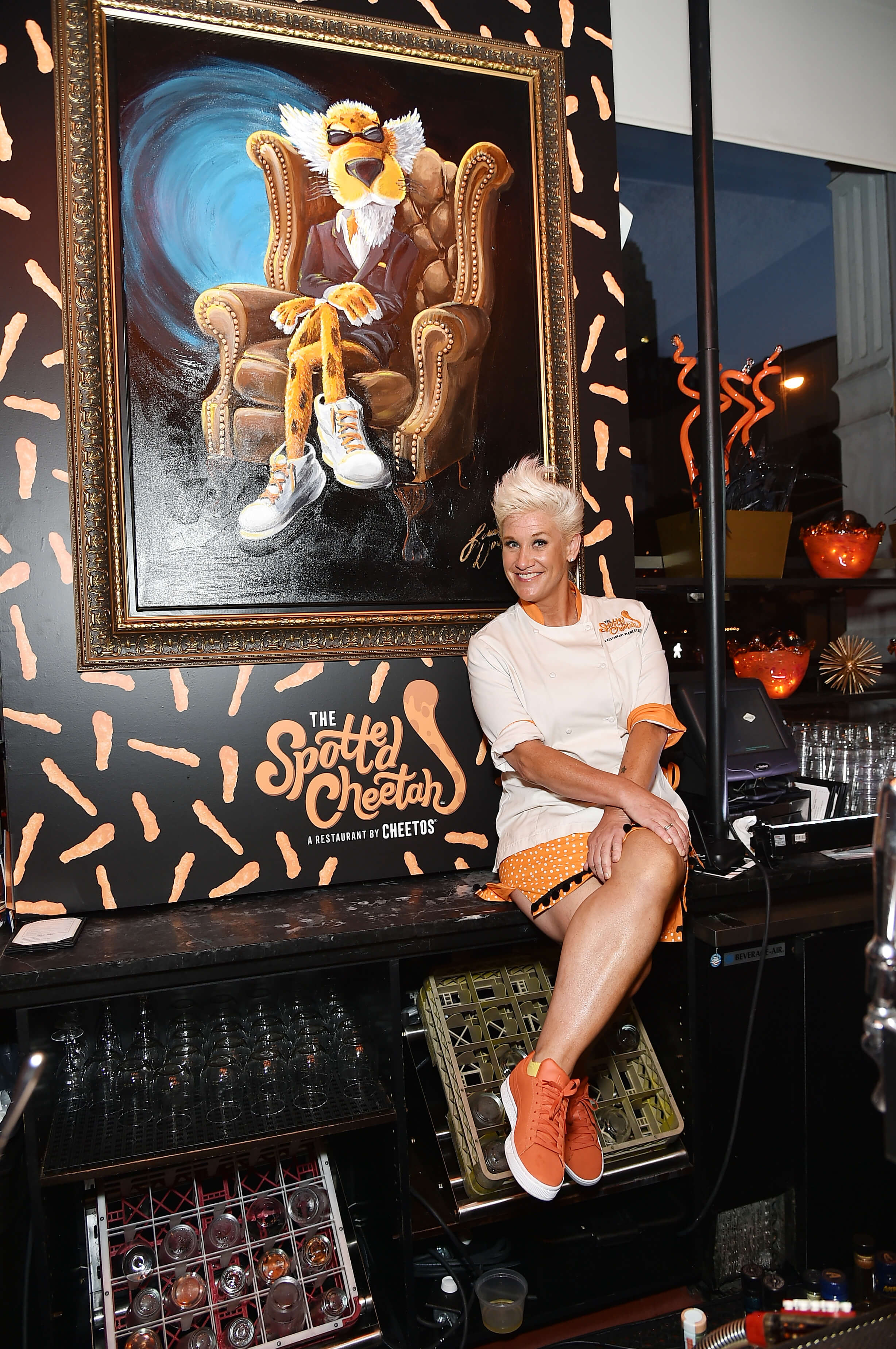 Celebrity chef Anne Burrell posed with Chester Cheetah at The Spotted Cheetah, a three-day-only Cheetos restaurant in NYC.