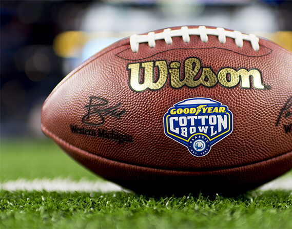 Goodyear Cotton Bowl football on the field.